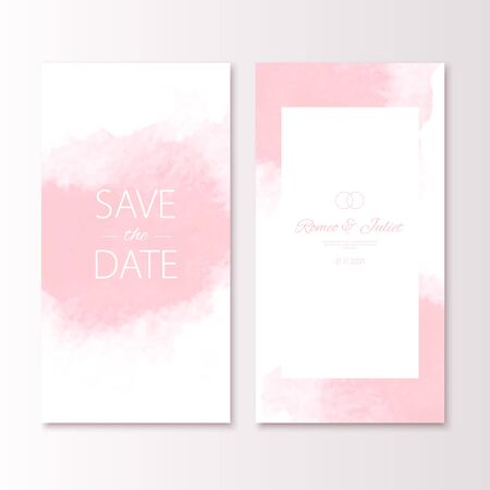 Wedding pink color invitation card with watercolor spot. Vector luxury invite with save the date text