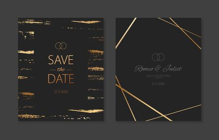 Wedding invitation cards with gold geometric polygonal patterns. Vector black luxury invite with gold metallic effect Illusztráció