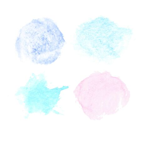 Color watercolor set. Soft pastels pink and blue brush strokes watercolor texture with gold polygonal frames