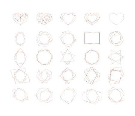 Set of rose gold geometric polygonal shapes. Vector frames for wedding invitation cards or other brochures