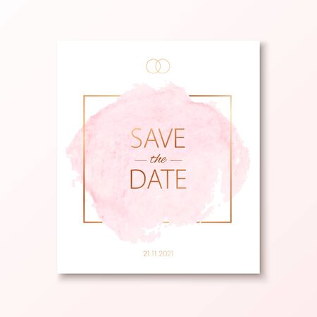 Wedding invitation card with watercolor spot and gold frame. Vector luxury invite with save the date text