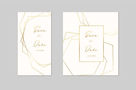 Wedding invitation cards with gold geometric polygonal design elements. Vector luxury invite