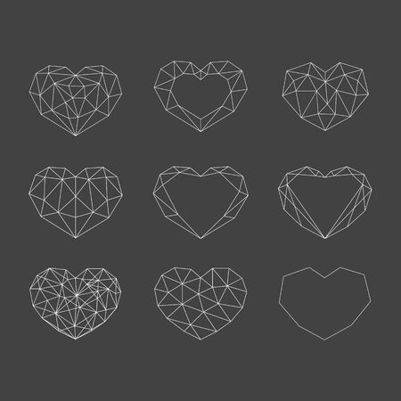Set of white geometric polygonal hearts. Vector icons isolated on black background