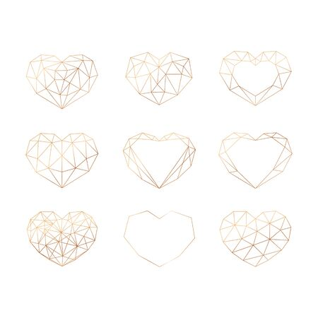 Set of gold geometric polygonal hearts. Vector icons isolated on white background