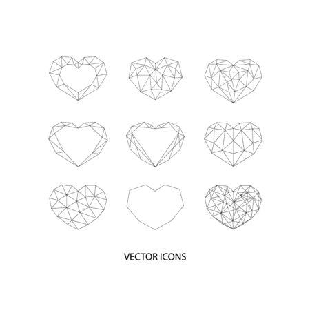 Set of black geometric polygonal hearts. Vector icons isolated Illusztráció