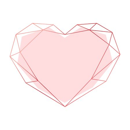 Rose gold geometric polygonal heart. Vector frame isolated