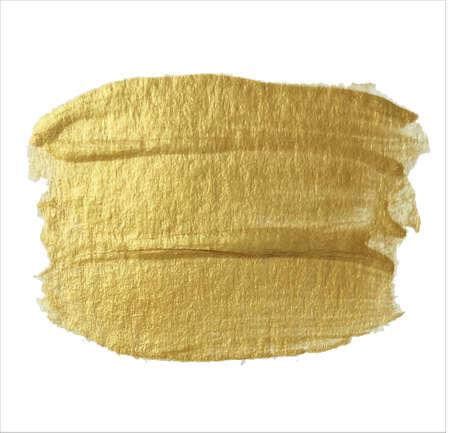 Very nice golden strokes of acrylic paint on a white background. Vector illustration. Illusztráció