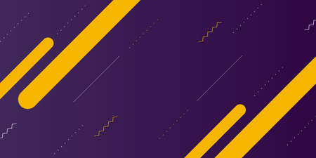 Abstract purple background for banner with yellow geometric lines.Vector modern design with minimal gradient effect.