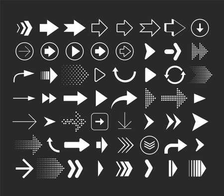 Collection of different shape arrows. Set of arrows icons isolated on black background. Vector signs Illusztráció