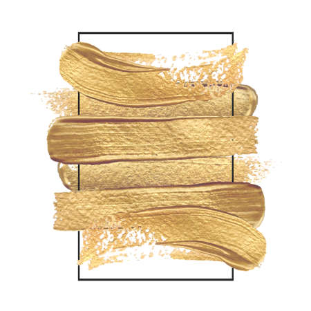 Gold paint hand drawn brush strokes in a rectangular frame of black color. Vector illustration