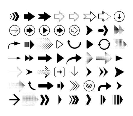 Collection of different shape arrows. Set of arrows icons isolated on white background. Vector signs Illusztráció