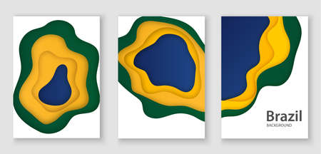 3D Brazilian flag cut out of paper. Abstraction in the style of art design. Use for poster, flyer, print.