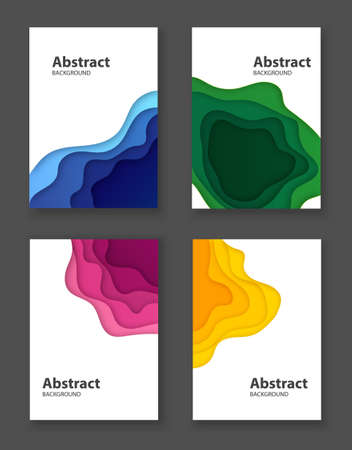 Set of 3D colored abstract backgrounds in frames. Paper cut shapes. Vector illustration. Stock fotó - 151021874