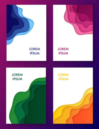 Paper cut multicolored set of abstract waves in frames. Modern background for covers, invitations, posters. Vector illustration