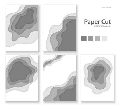 Vector background of gray paper cut shapes. 3D abstract paper art style.