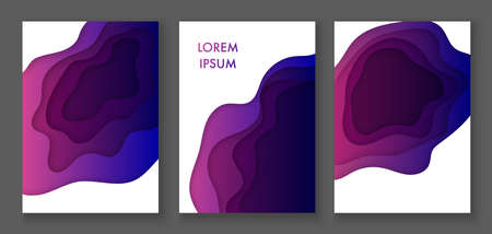 Set of vertical colorful banners with 3D abstract background and paper cut shapes. Vector illustration Cover layout design template. Stock fotó - 151021878