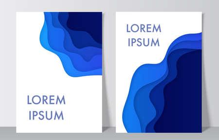Abstract realistic blue tones paper decoration for design. Vector design layout for presentations, flyers, posters. Illusztráció