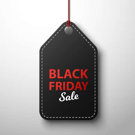 Black friday sale black label, isolated in white background. Vector illustration.