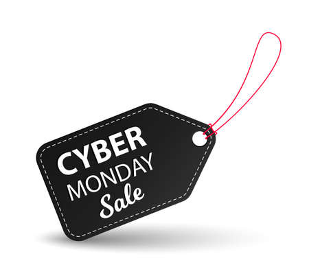 Cyber Monday black leather label or price tag on white background. Brochure or banner template.
