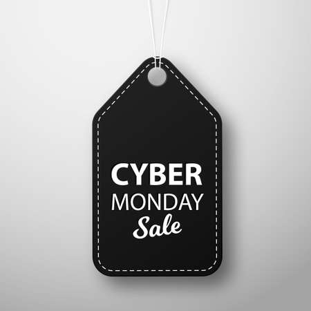 Cyber Monday black leather label or price tag on white background. Vector illustration EPS10 Illusztráció