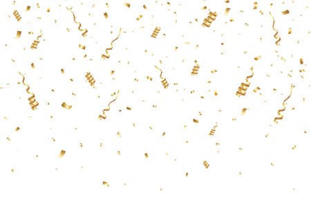 Falling golden confetti for the winner. Glitter, celebration, vector illustration. Ilustração