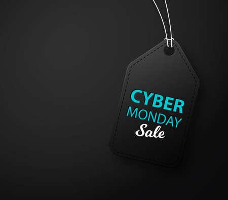 Cyber Monday black leather label or price tag. Black label. Vector illustration EPS10 Illusztráció