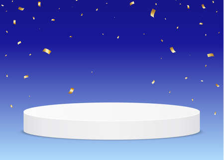 Pedestal from the award ceremony on a blue background, with falling confetti. Vector illustration