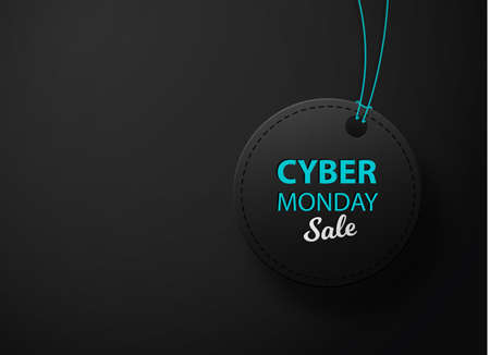Cyber Monday black leather label or price tag. Black label.
