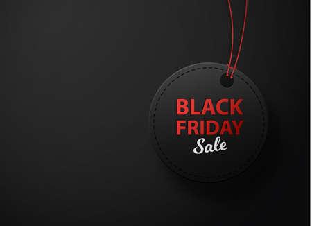 Black Friday sale black tag, round banner ondark background. Illusztráció
