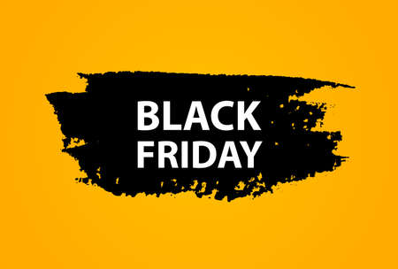 Black friday sale banner on yellow background with black stroke design layout.