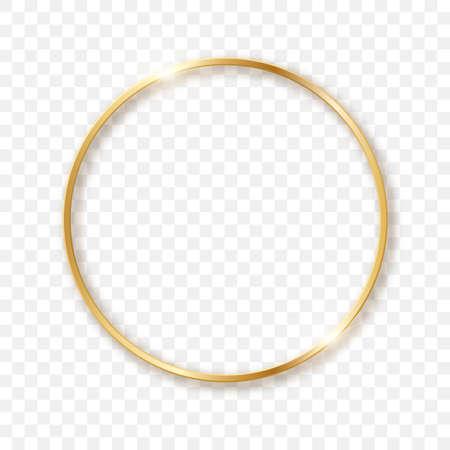 Golden sparkling circle on a transparent background in 3D format. Sparkling light effect.