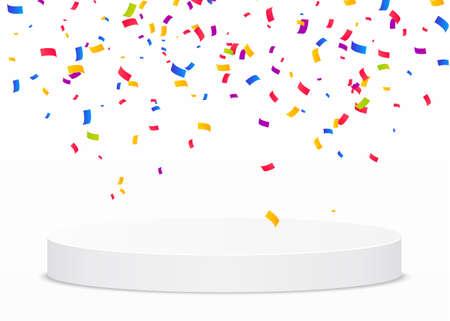 Multi-colored confetti fall on a white round podium. Isolated victory vector illustration. Illusztráció