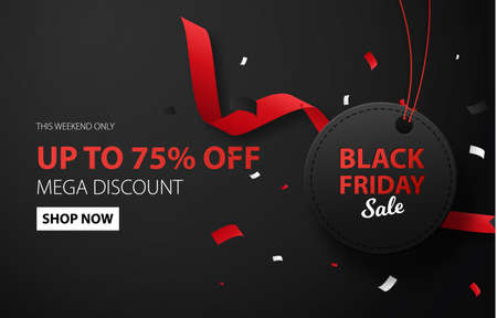 Black Friday sale discount background for commercial advertising. Black label with confetti