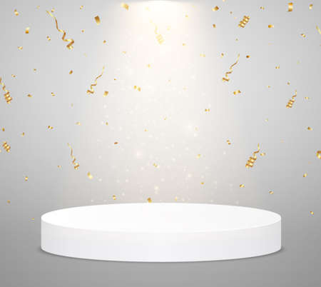 White podium with spotlight and confetti. Scene for the award ceremony. Winner concept