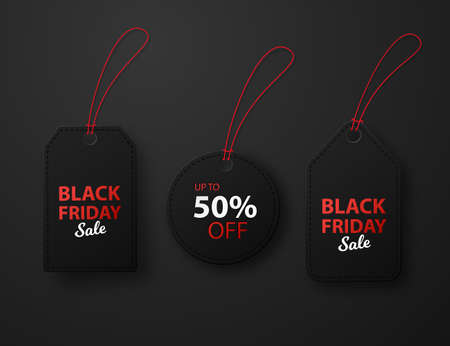 Set of black sale offer labels. Black friday isolated on a dark background.