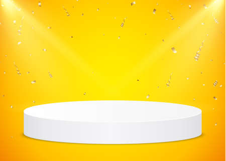 White round podium with spotlights and gold confetti on a yellow background. Vector pedestal for product presentation.