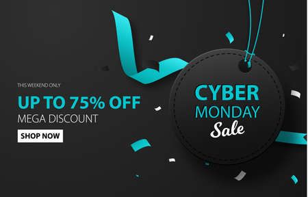 Cyber monday sale discount background for commercial advertising. Black label with confetti. Brochure or banner template.