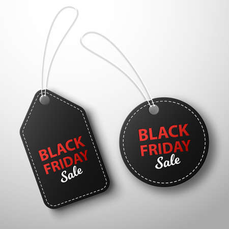 Black friday sale and discounts. Black price tags hanging on a white background.Vector illustration Illusztráció
