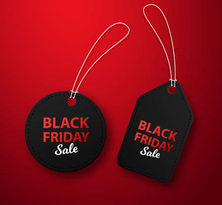 Black friday sale and prices, label design, offer and retail illustration. Conceptual design of advertising on a red background. Illusztráció