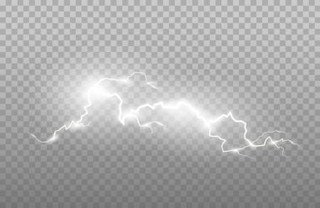 Realism of lightning and bright light effects isolated on a transparent background. Bright flashes and strong thunder.