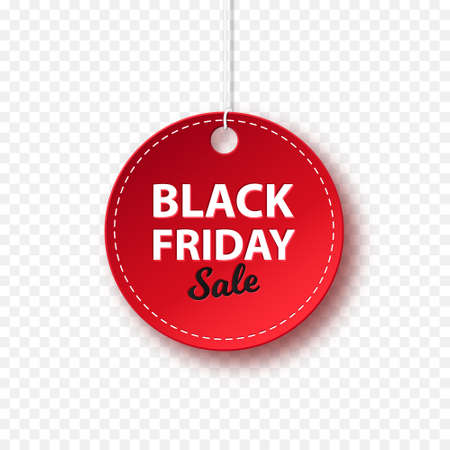 Round red tag on a white background with the inscription Black Friday at a discount. Vector set of decorative labels.