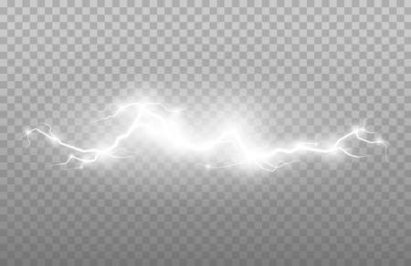 Strong electric lightning strips. Plasma sphere, set of vector abstract illustrations.