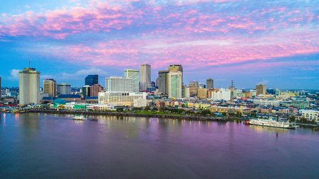 Downtown New Orleans, Louisiana, USA Skyline Drone Aerial at Sunrise