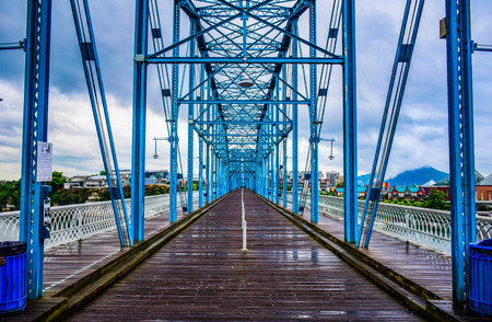 Walnut Street Bridge over the Tennessee River in Downtown Chattanooga Tennessee TN Redakční