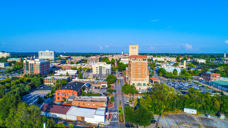 Drone Aerial of the Downtown Spartanburg, South Carolina, USA Skyline Stock Photo