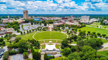 Drone Aerial of Downtown Spartanburg South Carolina Skyline 스톡 콘텐츠
