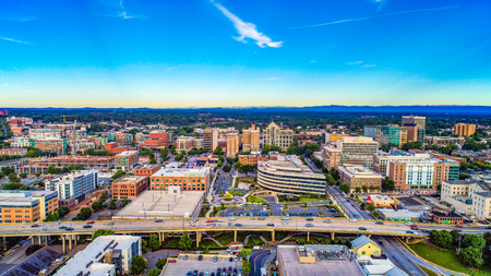 Drone Aerial of the Downtown Greenville, South Carolina SC Skyline