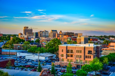 Sunset over Downtown Greenville South Carolina SC Skyline Editorial