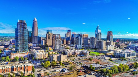 Downtown Charlotte, North Carolina, USA Skyline Drone Aerial
