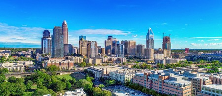 Downtown Charlotte, North Carolina, USA Skyline. Drone Aerial